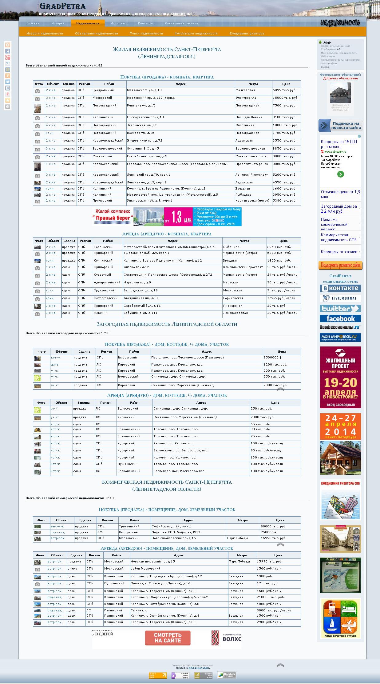 размещение объявление на главной странице портала Недвижимость Петербурга и Ленинградской области